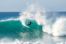 Reigning World Champion John John Florence of Hawaii advanced to the Quarterfinals of the Corona Open J-Bay after defeating Owen Wright of Australia in Heat 2 of Round Five at pumping Supertubes, Jeffreys Bay, South Africa.
